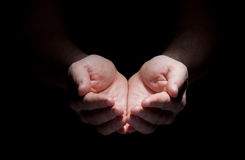 Hands isolated on black concept Royalty Free Stock Photography