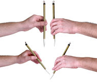 Hands with Japanese calligraphic brush Royalty Free Stock Photos