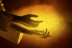 Hands of Jesus christ with open palm royalty free stock photography