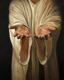 Hands of Jesus Painting. The hands of Jesus showing scars - Oil on linen painting stock illustration