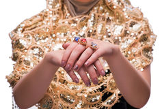 The hands with jewellery rings in fashion concept Royalty Free Stock Photography