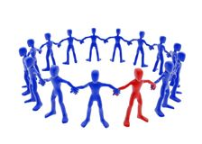 Hands Joined. Blue 3d figures forming a circle, hands joined Royalty Free Stock Images
