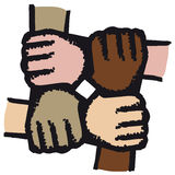 Hands joined (vector). Four colored hands joined together Stock Photography