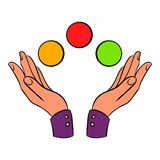 Hands juggling balls icon cartoon. Hands juggling balls icon in cartoon style isolated vector illustration Royalty Free Stock Photography