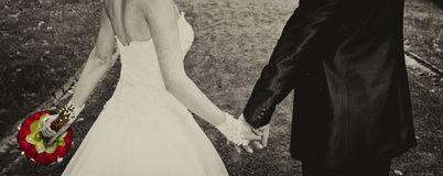 The hands of just married Stock Photography