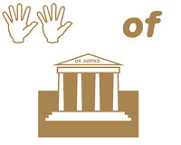 Hands of Justice symbols. Hands and courthouse symbols and text on white background Royalty Free Stock Photos