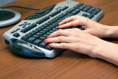 Hands and keyboard Stock Image