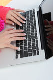 Hands on the keyboard. Royalty Free Stock Photography