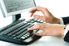 Hands on the keyboard Stock Photography