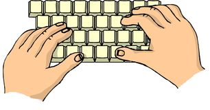 Hands on a keyboard. This illustration that I created depicts two hands on a computer keyboard Royalty Free Stock Image