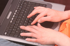 Hands on keyboard of computer Royalty Free Stock Images