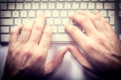 Hands on keyboard Royalty Free Stock Photography