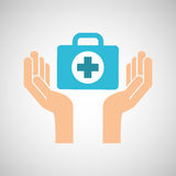 Hands with kit first aid emergency icon Stock Image