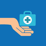 Hands with kit first aid emergency icon Royalty Free Stock Image