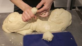Hands knead the dough. Female hands knead the dough on the table