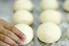 Hands kneading bread dough Royalty Free Stock Image
