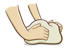 Hands kneading dough. Vector illustration of hands kneading dough Royalty Free Stock Image