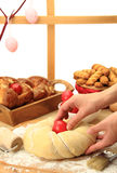 Hands kneading the Easter bread Stock Image