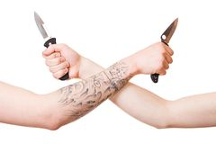 Hands with knife Royalty Free Stock Photos