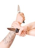Hands with knife Stock Photo