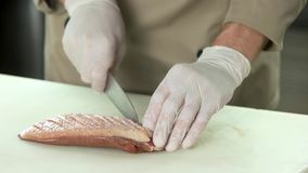 Hands with knife scoring meat. stock footage