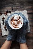 Hands in knitted mittens holding hot chocolate with marshmallow royalty free stock photo