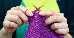 Hands knitting Stock Photography