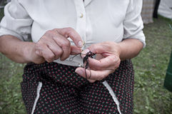 Hands knitting Stock Photo