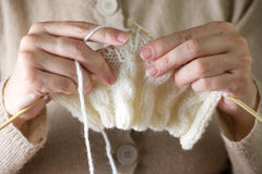 Hands knitting cose-up Stock Image