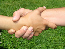 Hands knot. Man and woman hands couple, close up Stock Images