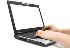 Hands on the laptop stock photography