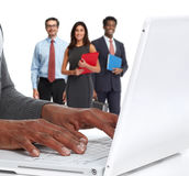 Hands with laptop . Stock Images