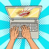 Hands on laptop comic style. Office worker or freelancer at work on a personal computer. Modern technologies. Vintage. Pop art retro vector illustration. EPS 10 Stock Photos