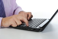 Hands on the laptop keyboard. Royalty Free Stock Photography