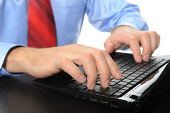 Hands on the laptop keyboard. Royalty Free Stock Image