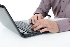 Hands on the laptop keyboard. Royalty Free Stock Photo