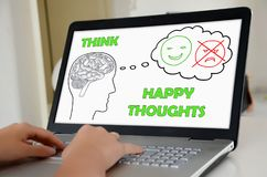 Happy thoughts concept on a laptop screen Stock Photography
