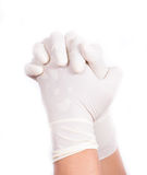 Hands with latex gloves. Get ready for treatment doctors hand in white hygienic glove Stock Photo
