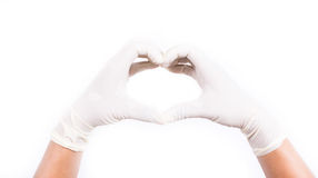 Hands with latex gloves. Get ready for treatment doctors hand in white hygienic glove Stock Photography