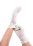 Hands with latex gloves. Get ready for treatment doctors hand in white hygienic glove Royalty Free Stock Photo