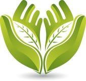 Hands leaf logo Royalty Free Stock Images