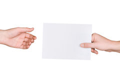 Hands and letter Royalty Free Stock Photo