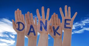 Hands With Letters Building Danke Means Thank You Stock Image