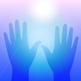 Hands in light. Blue vector violet illustration of raised hands reaching out to saving light source. Can means spiritual or cosmic contact, reaching for light Stock Photos
