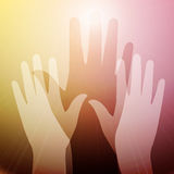 Hands in light. Yellow pink vector illustration of raised hands reaching out to saving light source. Can means spiritual or cosmic contact, reaching for light Stock Image