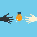 Hands and light bulb. Search ideas. Vector print Stock Photography