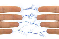 Hands and lightnings Royalty Free Stock Photo