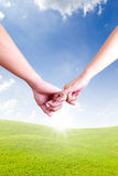 Hands linking fingers Royalty Free Stock Photo