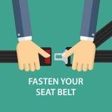 Hands locking seat belt Stock Images