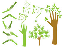 Hands logo. Stylized human hands - the concept of ecology stock illustration